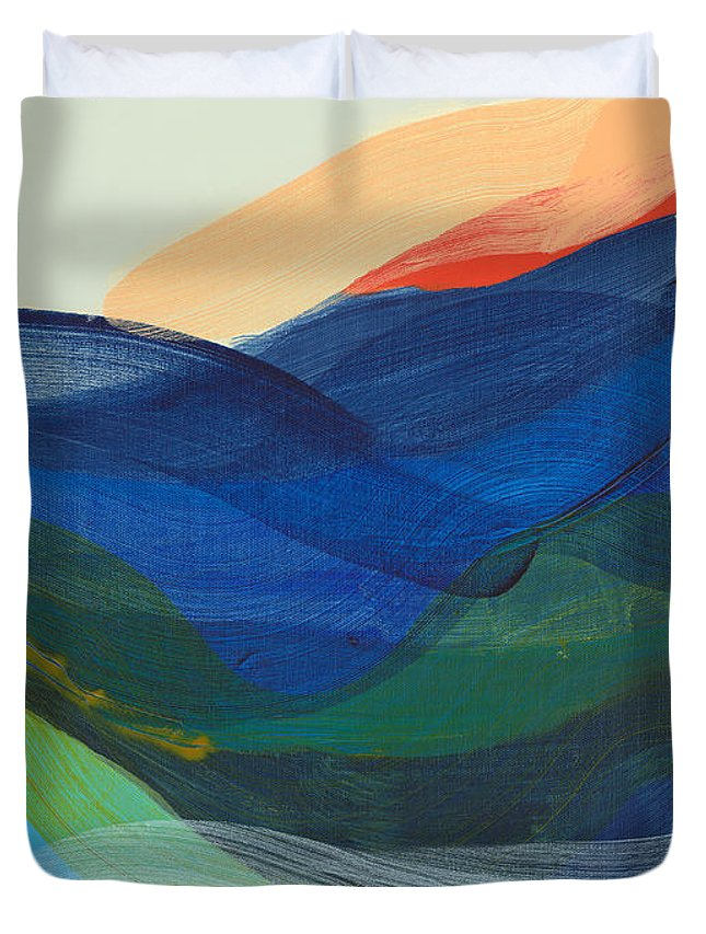 Abstract Duvet Cover featuring the painting Deep Sleep Undone by Claire Desjardins