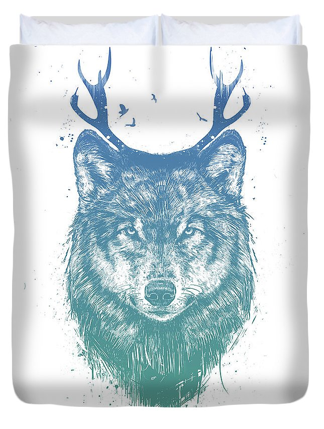 Wolf Duvet Cover featuring the mixed media Deer wolf by Balazs Solti
