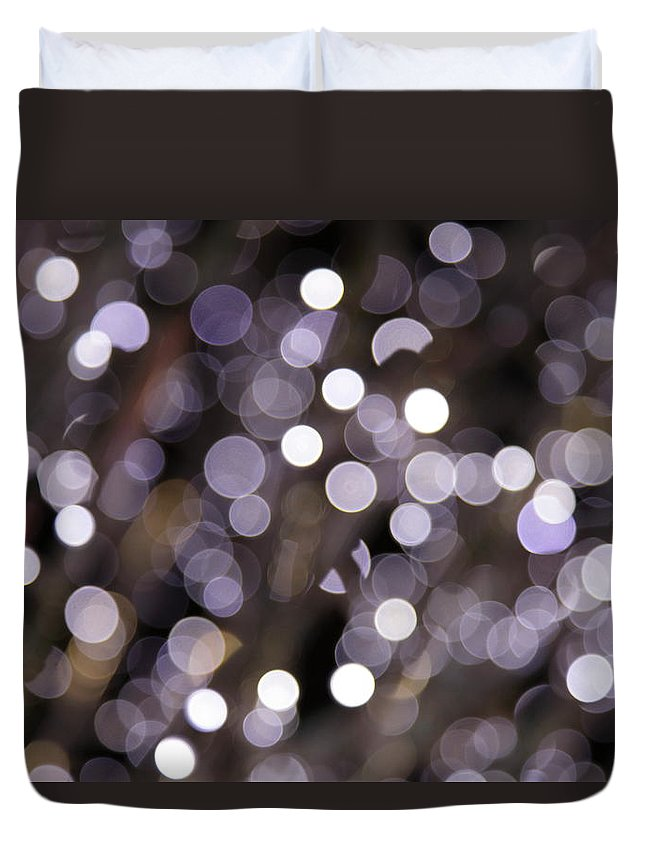 Funky Duvet Cover featuring the photograph Defocused Purple Light Dots by Sebastian-julian