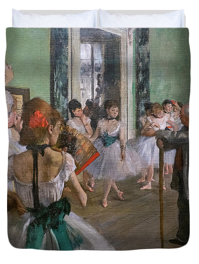 Dance Duvet Cover featuring the painting Degas, The Dance Class Detail by Edgar Degas