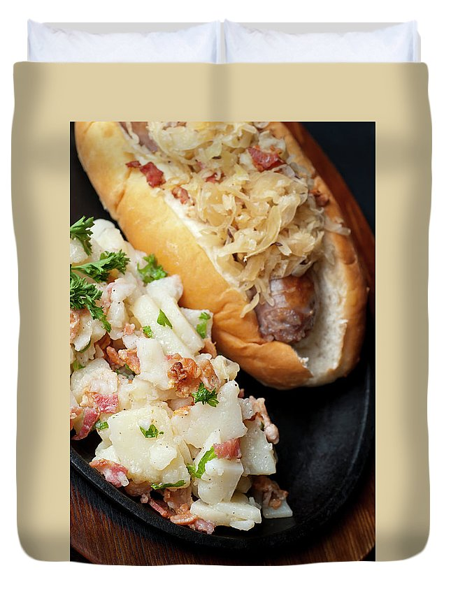 German Food Duvet Cover featuring the photograph Delicious German Potato Salad And Bread by Rudisill