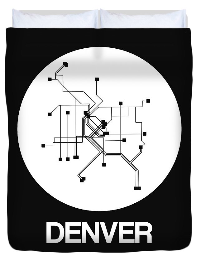 Vacation Duvet Cover featuring the digital art Denver White Subway Map by Naxart Studio