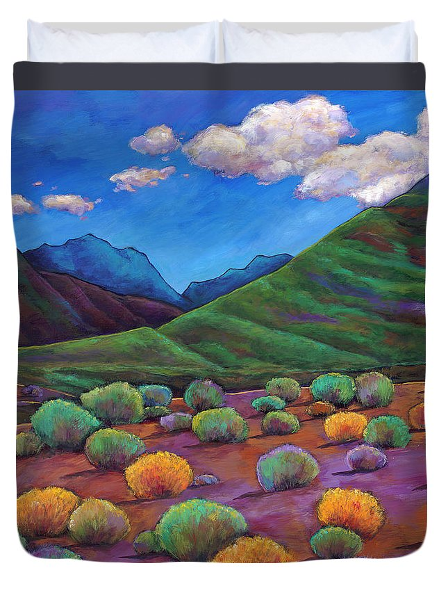 Arizona Duvet Cover featuring the painting Desert Valley by Johnathan Harris