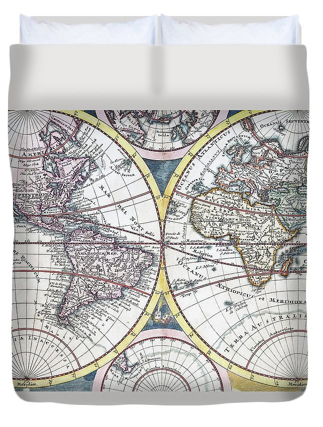 Engraving Duvet Cover featuring the digital art Detail Copper Engraving Of World Map by Grafissimo