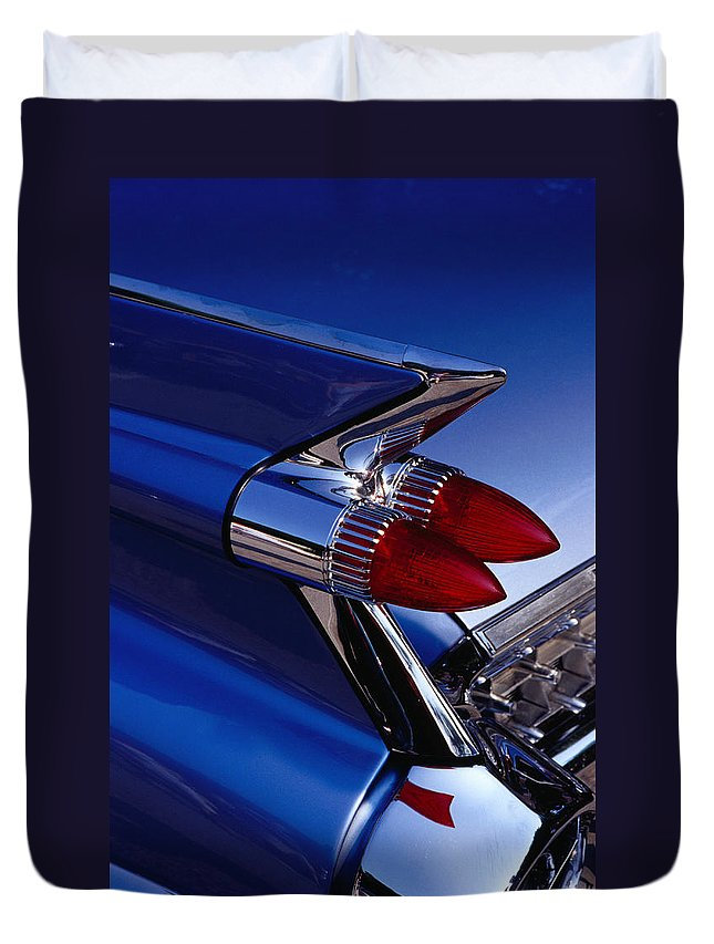Silver Colored Duvet Cover featuring the photograph Detail Of An American Cadillac, Eze by Richard I'anson