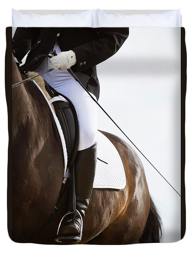 Horse Duvet Cover featuring the photograph Detail Of Female Dressage Rider On Horse by Lea Roth