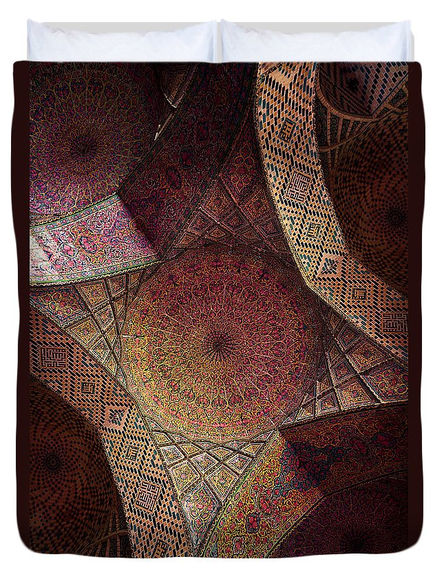 East Duvet Cover featuring the photograph Detail Of The Ceiling Tilework by Len4foto