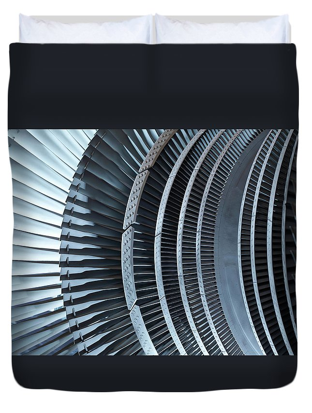 Manufacturing Equipment Duvet Cover featuring the photograph Detail Of Turbine by Monty Rakusen