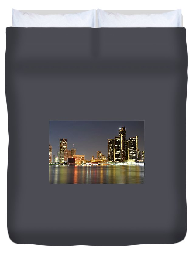 Downtown District Duvet Cover featuring the photograph Detroit Skyline At Night by Rivernorthphotography
