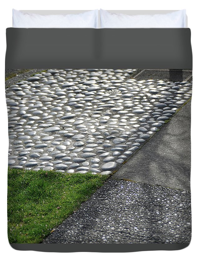 Grass Duvet Cover featuring the photograph Different Textures Of Sidewalk, And by Aaron Mccoy