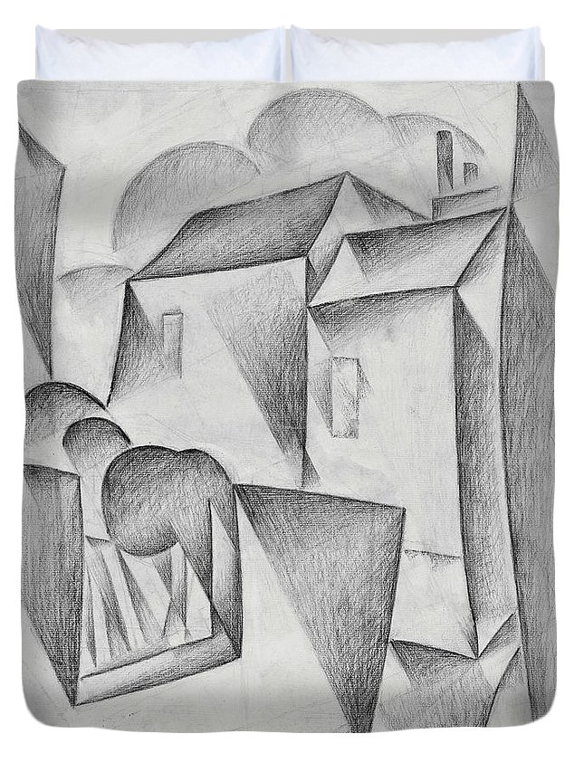 Houses In Paris Duvet Cover featuring the drawing Digital Remastered Edition - Houses In Paris, Place Ravignan - Original White by Juan Gris