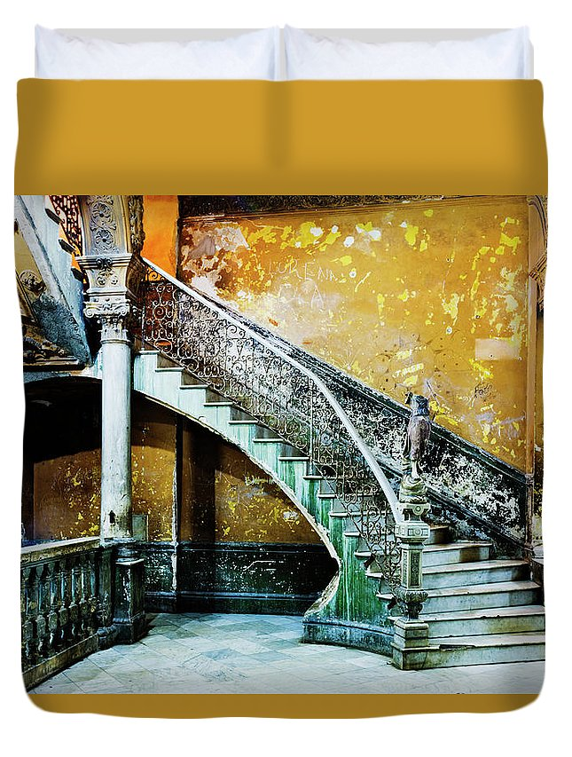 Majestic Duvet Cover featuring the photograph Dilapidated, Ornate Stairway by Pixelchrome Inc