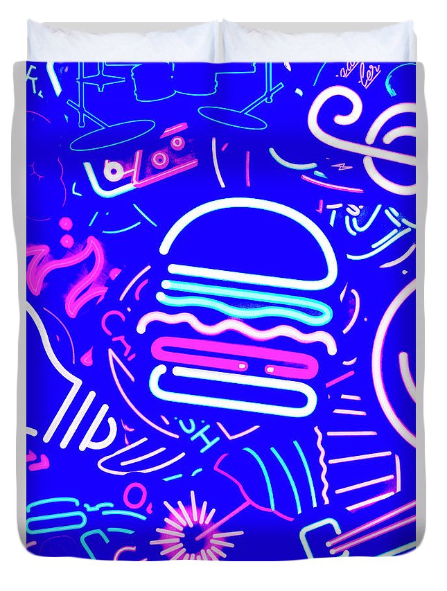 Burger Duvet Cover featuring the photograph Diner Lights by Jorgo Photography - Wall Art Gallery