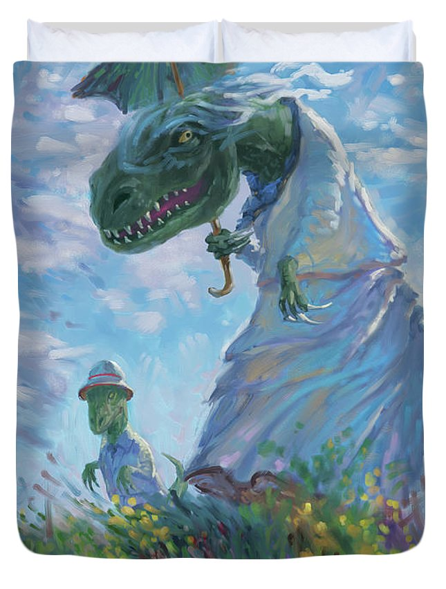 Dinosaurs Duvet Cover featuring the digital art Dinosaur And Son With A Parasol by Martin Davey