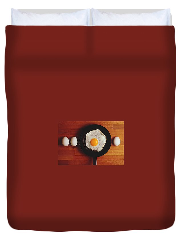 Breakfast Duvet Cover featuring the photograph Directly Above Shot Of Eggs And Fried by Daniel Kormann / Eyeem