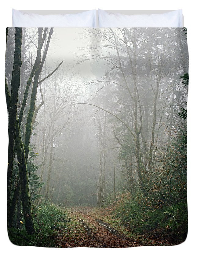 Tranquility Duvet Cover featuring the photograph Dirt Road Leading Through Foggy Forest by Danielle D. Hughson
