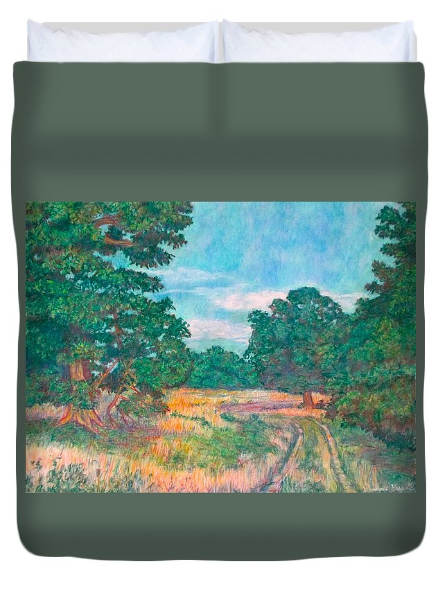 Landscape Duvet Cover featuring the painting Dirt Road Near Rock Castle Gorge by Kendall Kessler