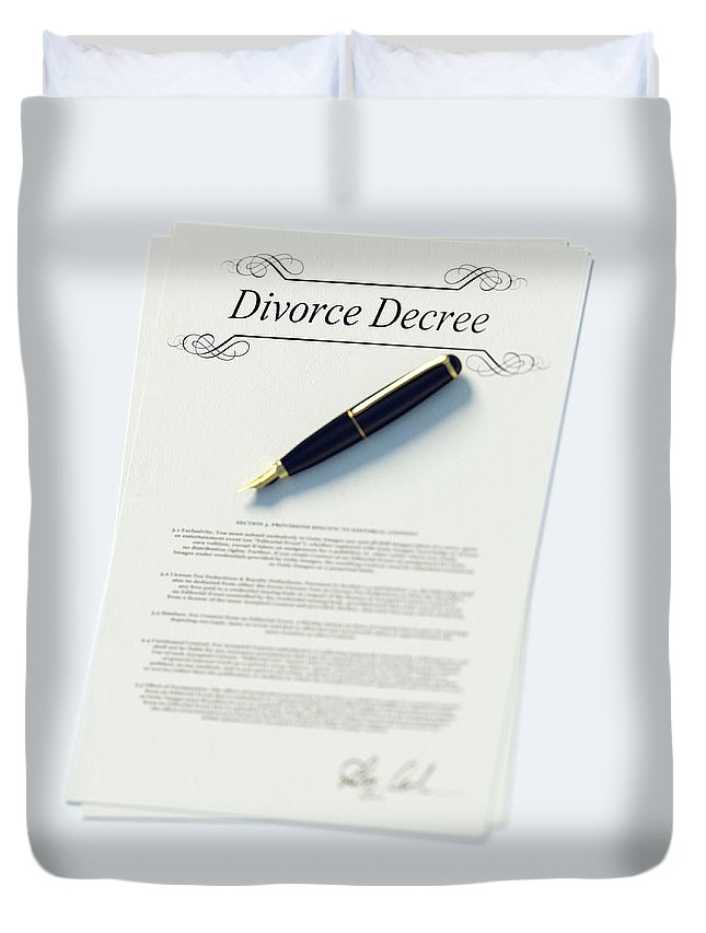 White Background Duvet Cover featuring the photograph Divorce Papers In English And Pen by Doug Armand