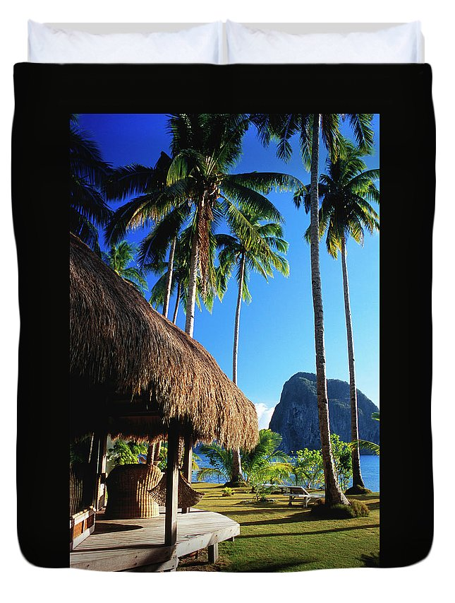 Tropical Tree Duvet Cover featuring the photograph Dolarog Beach Resort With Inabuyatan by Dallas Stribley