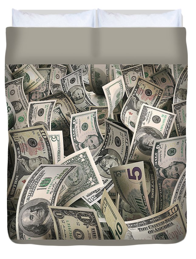 Five Dollar Bill Duvet Cover featuring the photograph Dollars by Ktsfotos