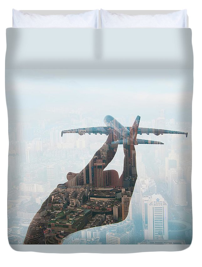 People Duvet Cover featuring the photograph Double Exposure Of Hand Holding Model by Jasper James