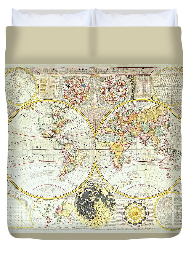 Ancient Duvet Cover featuring the digital art Double Hemisphere World Map by The Map House Of London