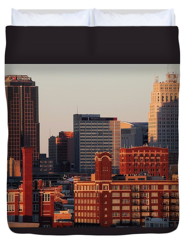 Downtown District Duvet Cover featuring the photograph Downtown Kansas City by Eric Bowers Photo