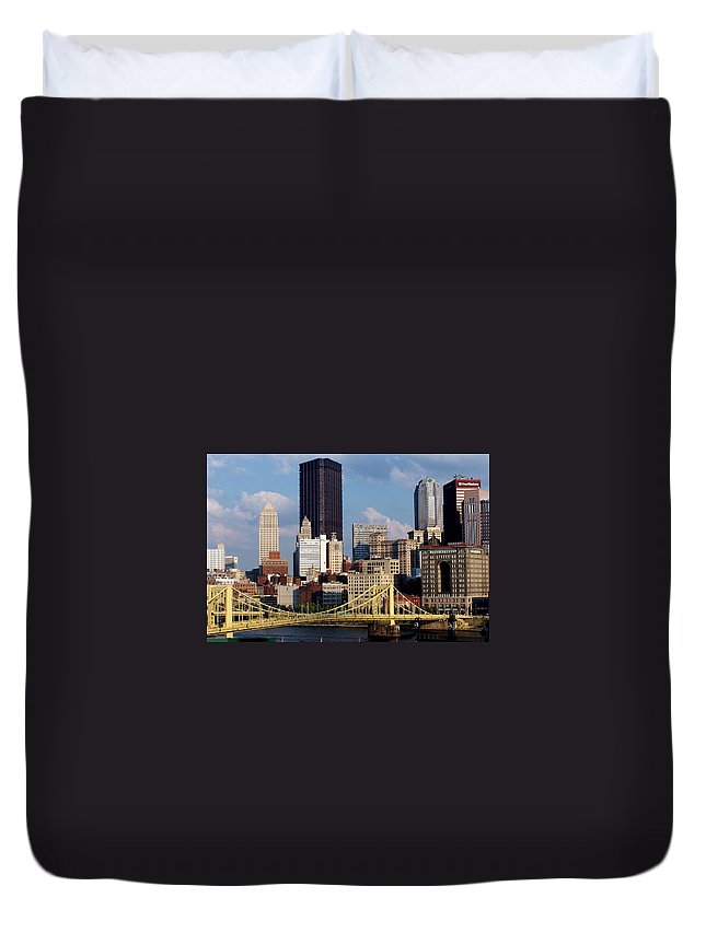 Downtown District Duvet Cover featuring the photograph Downtown Pittsburgh Panorama From Pnc by Photo By Paul D. Toth
