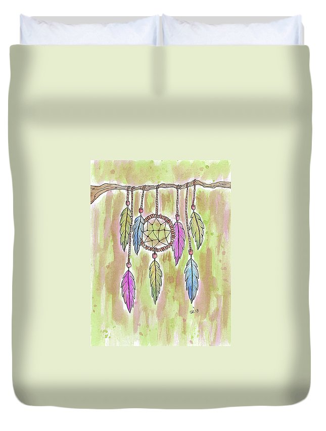 Watercolor And Ink Duvet Cover featuring the painting Dream Catcher by Susan Campbell