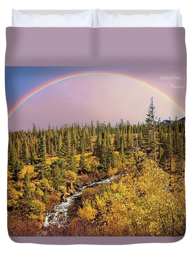 Heavenly Duvet Cover featuring the photograph Dreams Come True With Text by Lynn Bauer