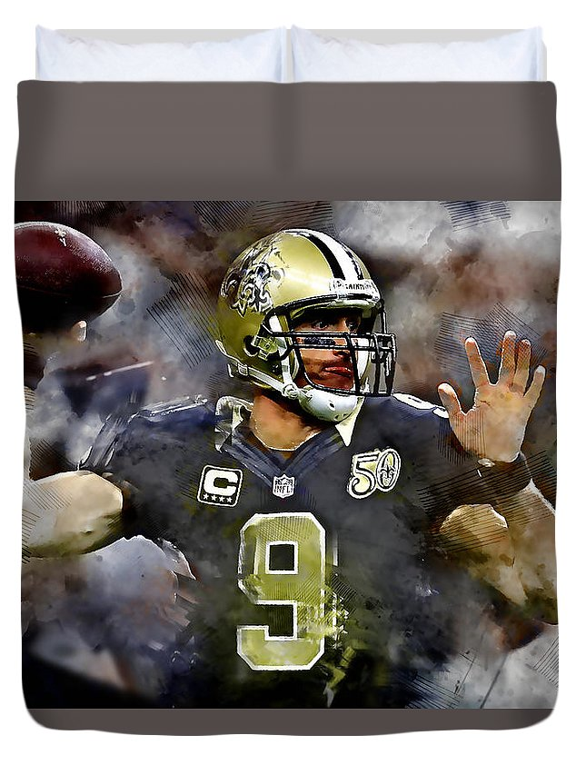 Drew Brees Duvet Cover featuring the mixed media Drew Brees by Marvin Blaine
