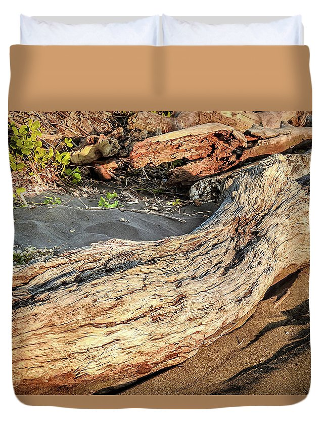 Driftwood Duvet Cover featuring the photograph Driftwood On Black Sand by Matias Feucht