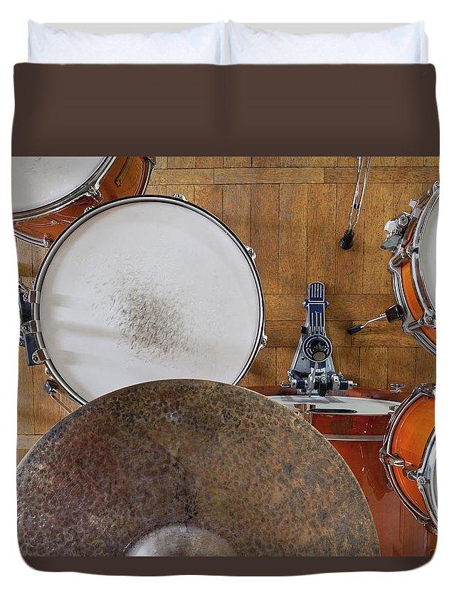 Berlin Duvet Cover featuring the photograph Drum Kit Arrangement by Halfdark