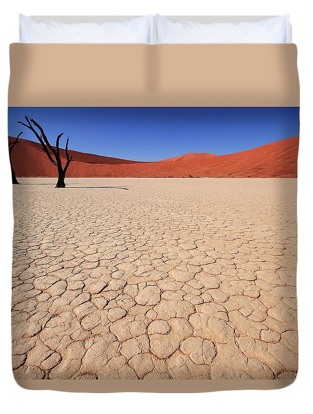 Scenics Duvet Cover featuring the photograph Dry Pan Of Deadvlei Plus Two Dead Trees by Klaus Brandstaetter