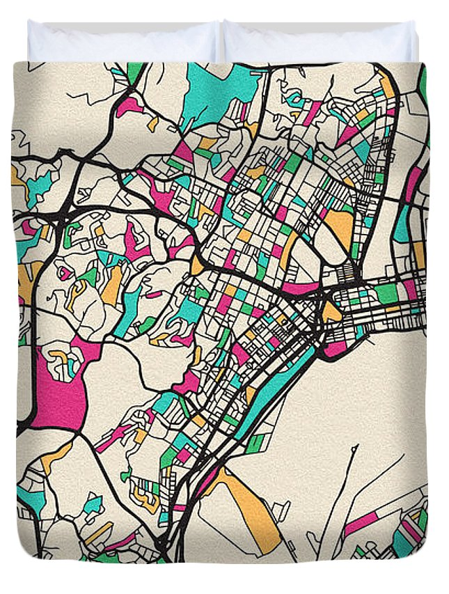 Durban Duvet Cover featuring the drawing Durban, South Africa City Map by Inspirowl Design