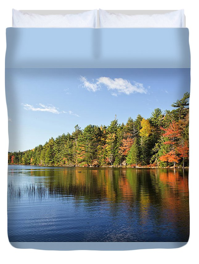 Scenics Duvet Cover featuring the photograph Eagle Lake Autumn Morning, Acadia by Picturelake