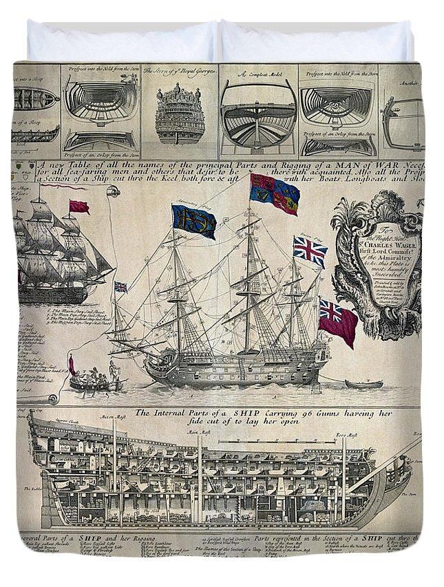 Early 18th Century British Man Of War Ship Diagram Duvet Cover