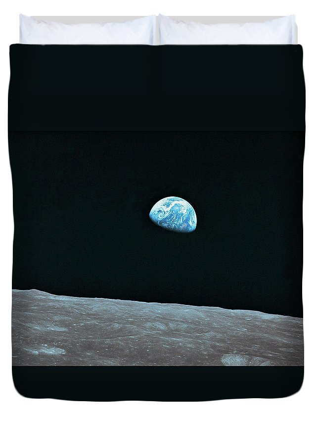 Black Color Duvet Cover featuring the photograph Earth And Lunar Landscape by Digital Vision.