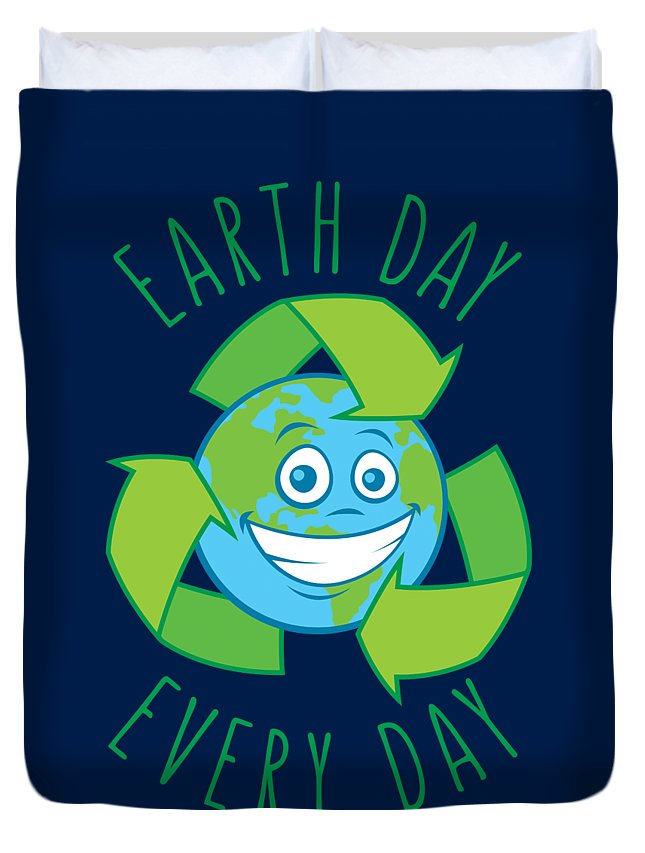 Green Duvet Cover featuring the digital art Earth Day Every Day Recycle Cartoon by John Schwegel