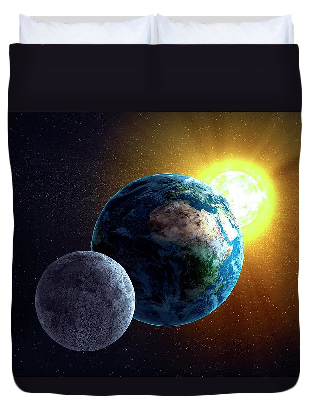 Solar System Duvet Cover featuring the digital art Earth, Moon And Sun, Artwork by Science Photo Library - Andrzej Wojcicki