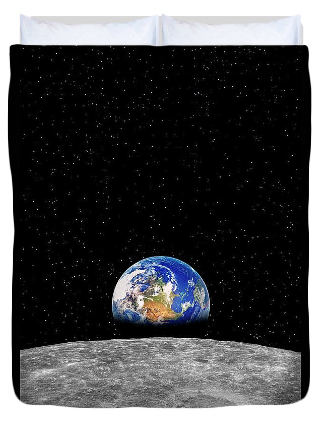 Planetary Moon Duvet Cover featuring the photograph Earth Rising Over Moon by Rob Atkins