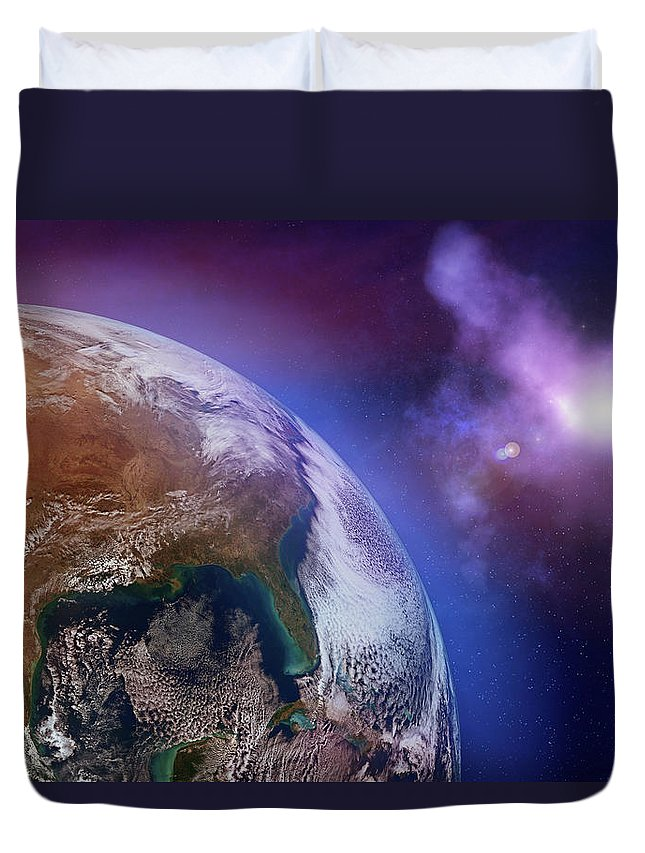 Globe Duvet Cover featuring the photograph Earth With Stars by Dem10