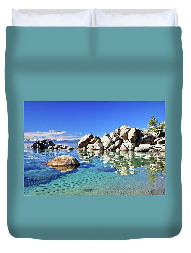 Tranquility Duvet Cover featuring the photograph East Shore, Lake Tahoe, Nv by Stevedunleavy.com