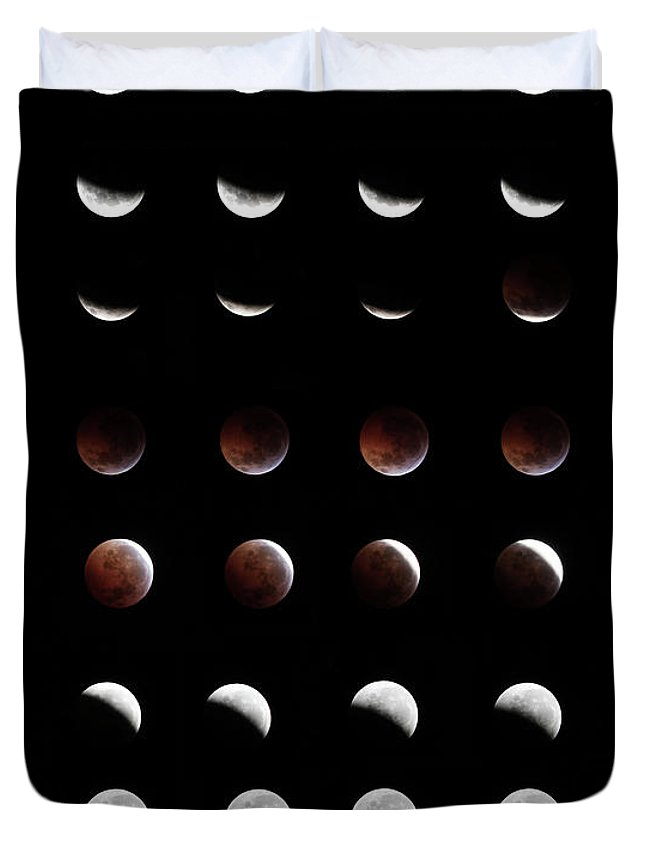 Event Duvet Cover featuring the photograph Eclipse, In All Phases Of The Moon by Arturogi