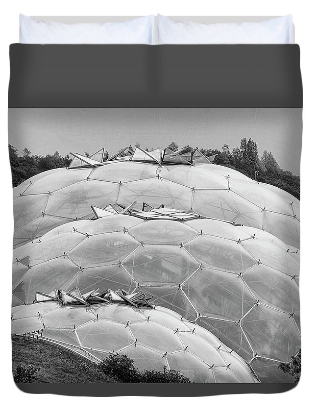 Cornwall Duvet Cover featuring the photograph Eden Project Biome by Shirley Mitchell