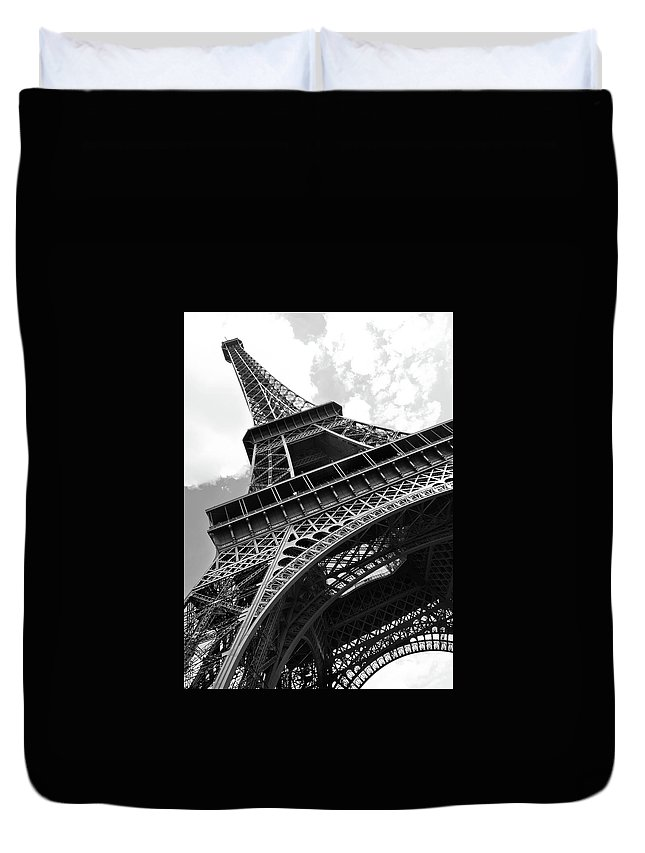 Black Color Duvet Cover featuring the photograph Eiffel Tower In Black And White by Sarah8000