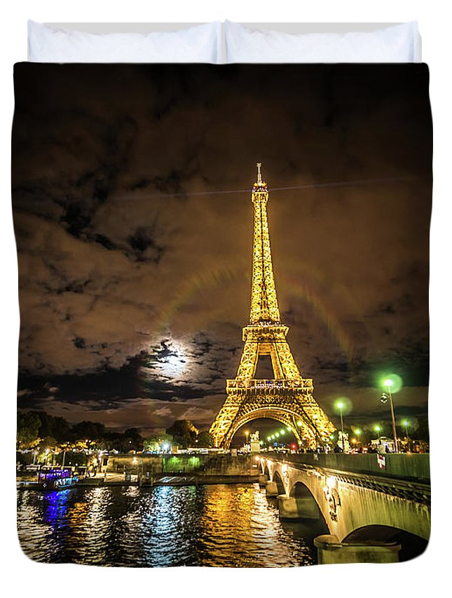 1889 Exposition Duvet Cover featuring the photograph Eiffell Tower At Night After The Storm Passed by PorqueNo Studios