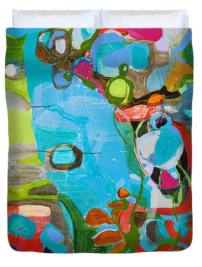 Abstract Duvet Cover featuring the painting El Arbol by Claire Desjardins