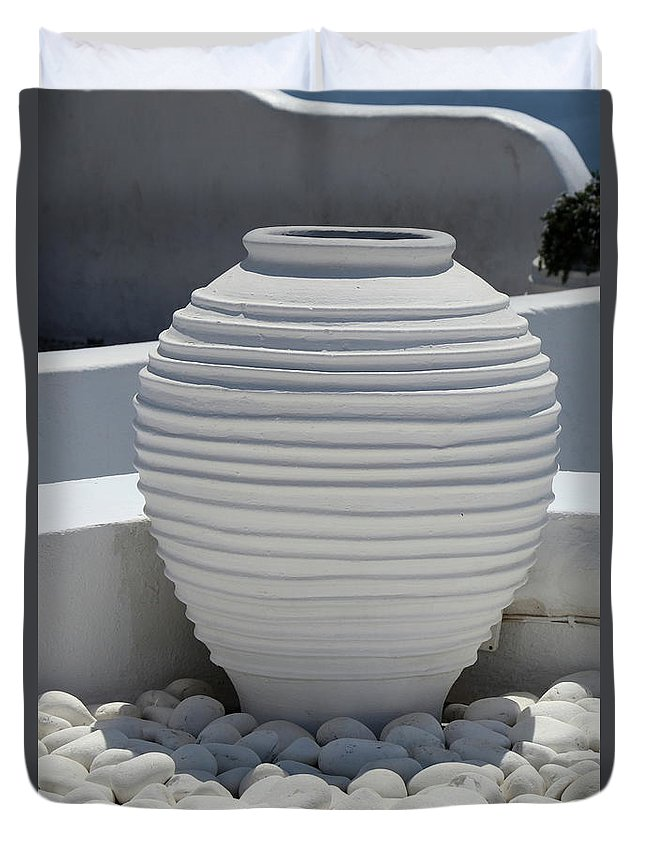Flowerpots Duvet Cover featuring the photograph Elegant White by Christiane Schulze Art And Photography