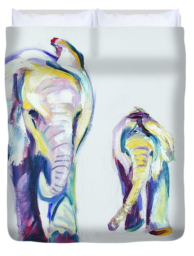 Elephants Duvet Cover featuring the painting Elephants Side By Side by Nickie Perrin Paintings